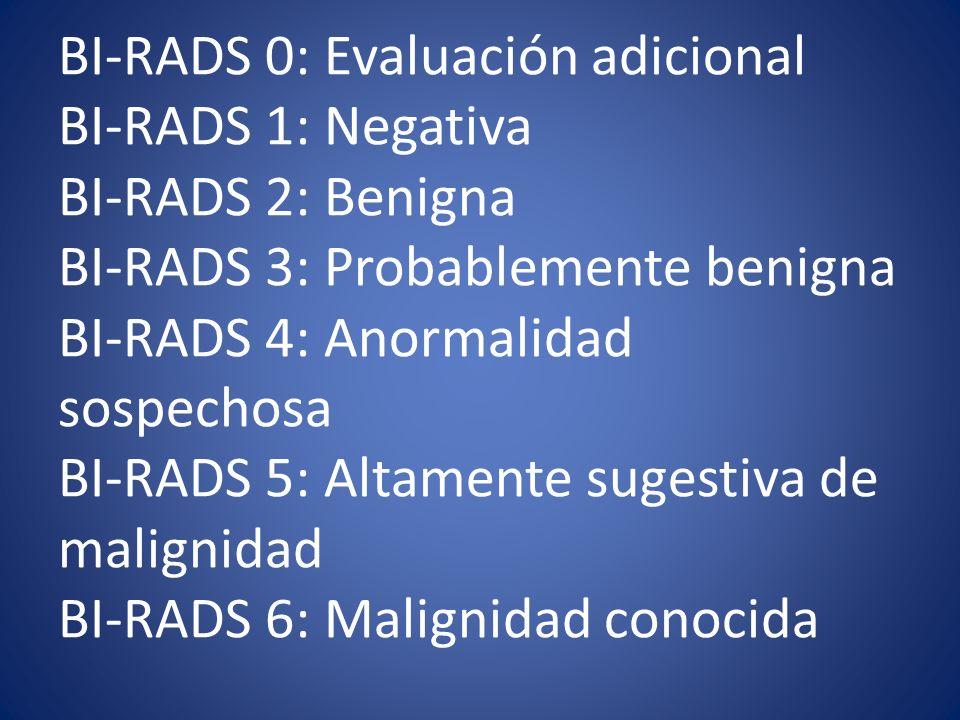 BI-RADS 0: Evaluación adicional BI-RADS 1: Negativa BI-RADS 2: Benigna BI-RADS 3: Probablemente benigna BI-RADS 4: Anormalidad sospechosa BI-RADS 5: Altamente sugestiva de malignidad BI-RADS 6: Malignidad conocida
