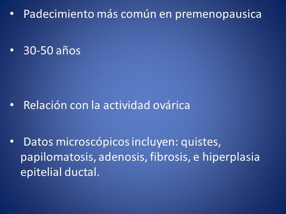 Padecimiento más común en premenopausica 30-50 años