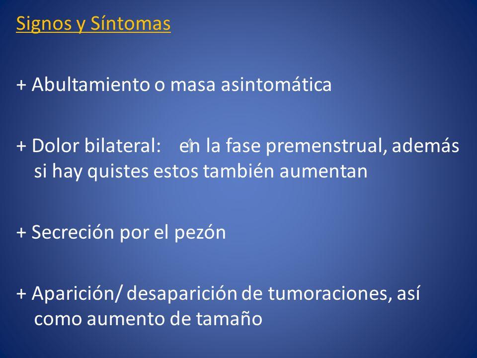 Signos y Síntomas + Abultamiento o masa asintomática + Dolor bilateral: en la fase premenstrual, además si hay quistes estos también aumentan + Secreción por el pezón + Aparición/ desaparición de tumoraciones, así como aumento de tamaño