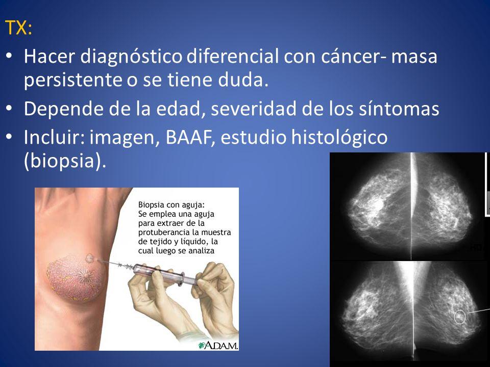 TX: Hacer diagnóstico diferencial con cáncer- masa persistente o se tiene duda. Depende de la edad, severidad de los síntomas.