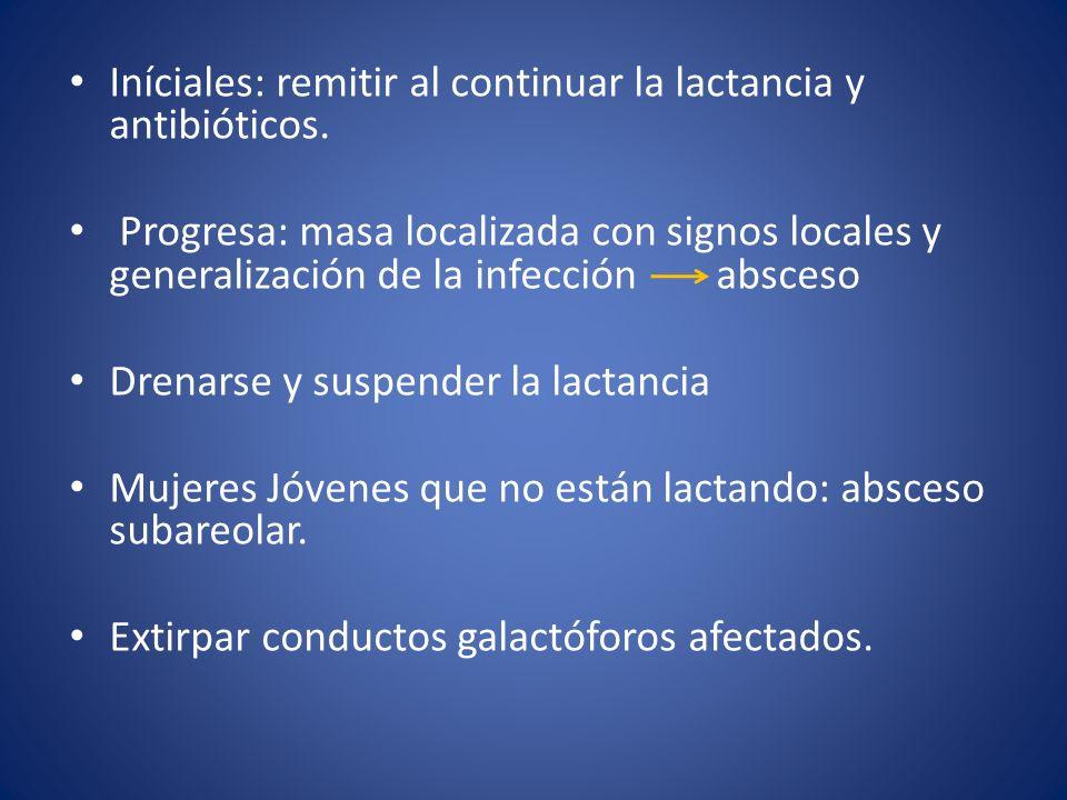 Iníciales: remitir al continuar la lactancia y antibióticos.