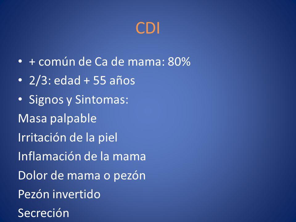 CDI + común de Ca de mama: 80% 2/3: edad + 55 años Signos y Sintomas: