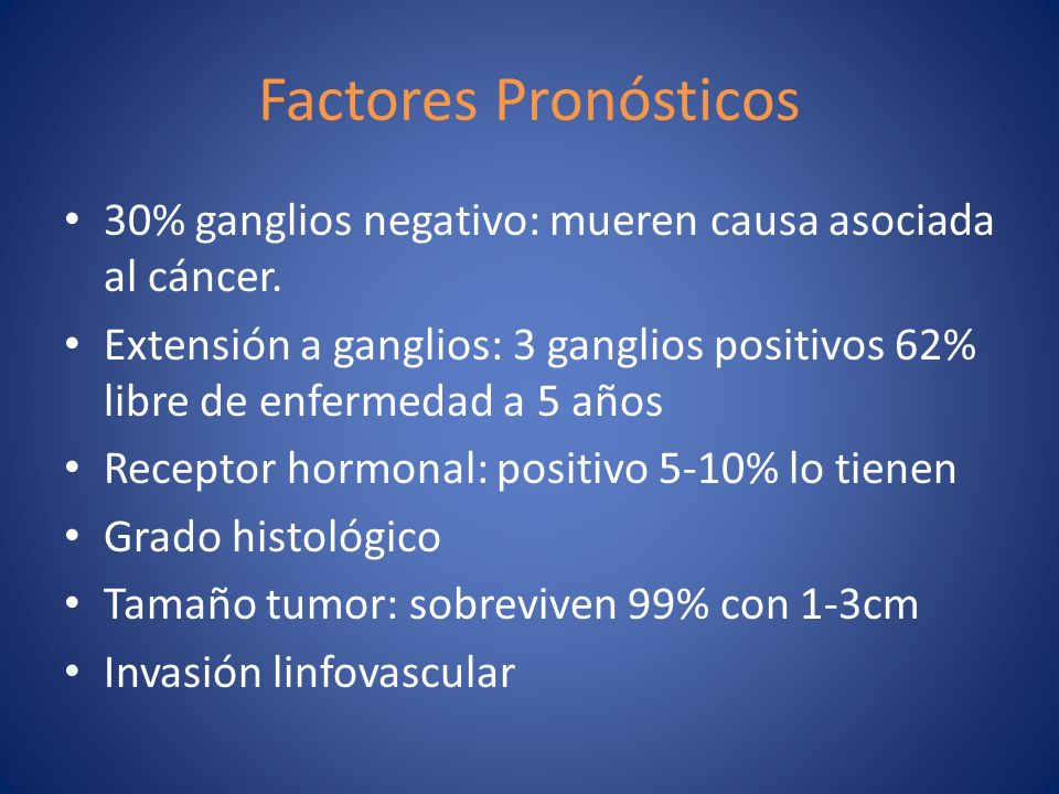 Factores Pronósticos 30% ganglios negativo: mueren causa asociada al cáncer.