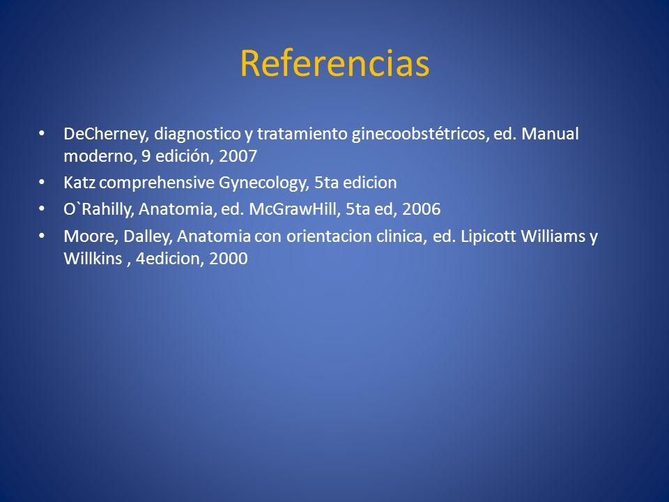 Referencias DeCherney, diagnostico y tratamiento ginecoobstétricos, ed. Manual moderno, 9 edición, 2007.