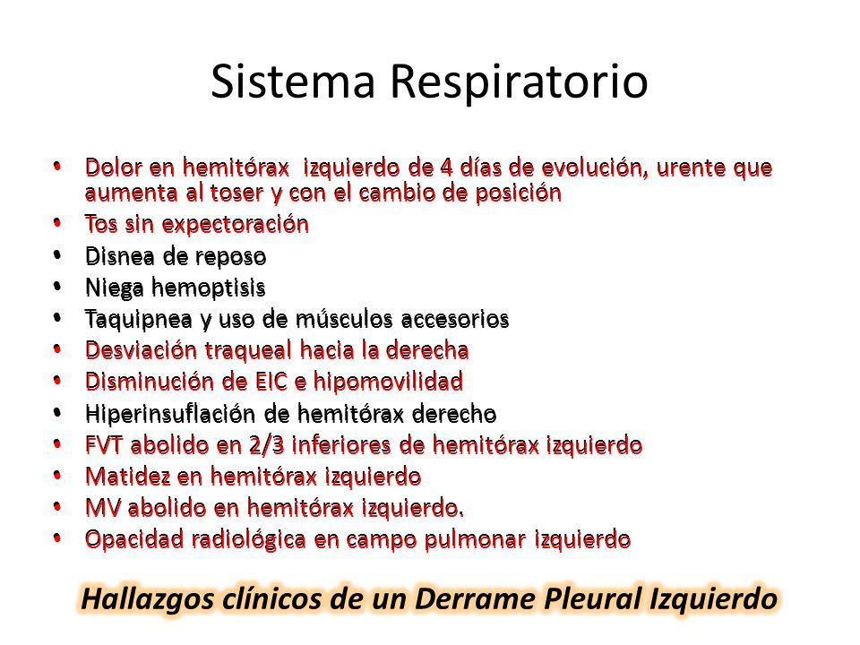 Hallazgos clínicos de un Derrame Pleural Izquierdo