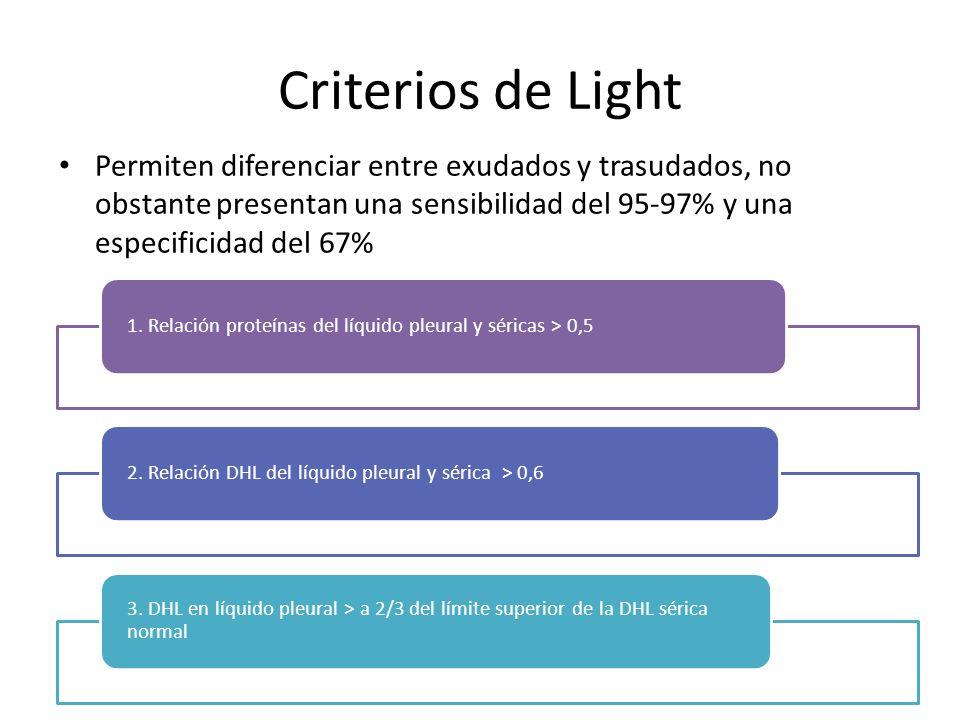 Criterios de Light Permiten diferenciar entre exudados y trasudados, no obstante presentan una sensibilidad del 95-97% y una especificidad del 67%