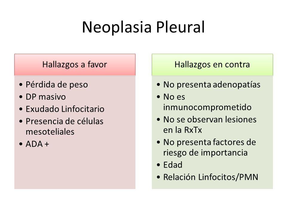 Neoplasia Pleural Hallazgos a favor Pérdida de peso DP masivo