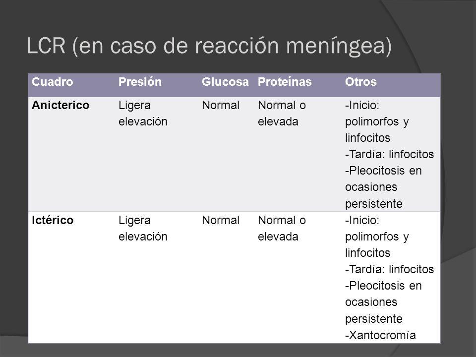 LCR (en caso de reacción meníngea)