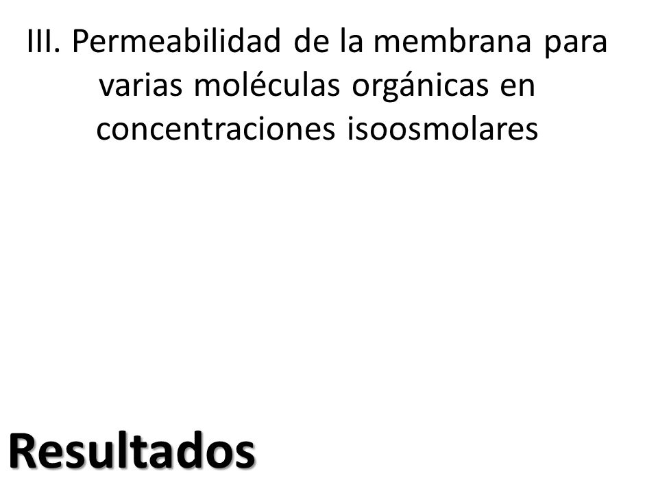 III. Permeabilidad de la membrana para varias moléculas orgánicas en concentraciones isoosmolares