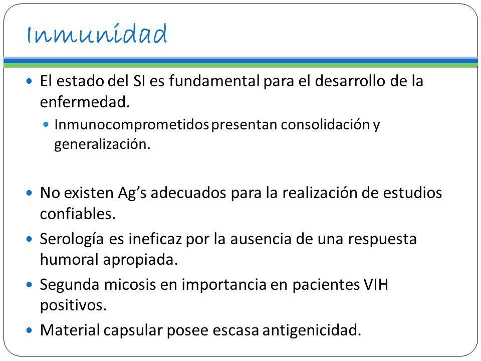 InmunidadEl estado del SI es fundamental para el desarrollo de la enfermedad. Inmunocomprometidos presentan consolidación y generalización.
