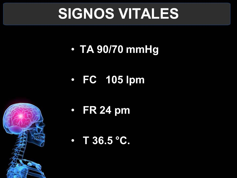 SIGNOS VITALES TA 90/70 mmHg FC 105 lpm FR 24 pm T 36.5 °C.