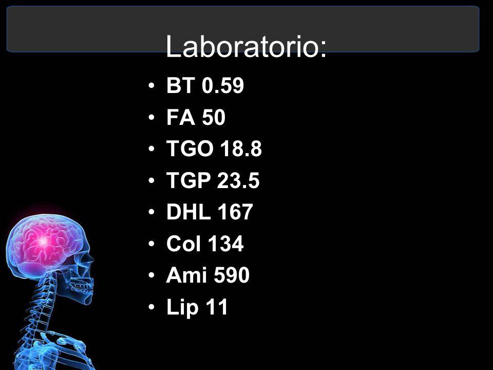 Laboratorio: BT 0.59 FA 50 TGO 18.8 TGP 23.5 DHL 167 Col 134 Ami 590