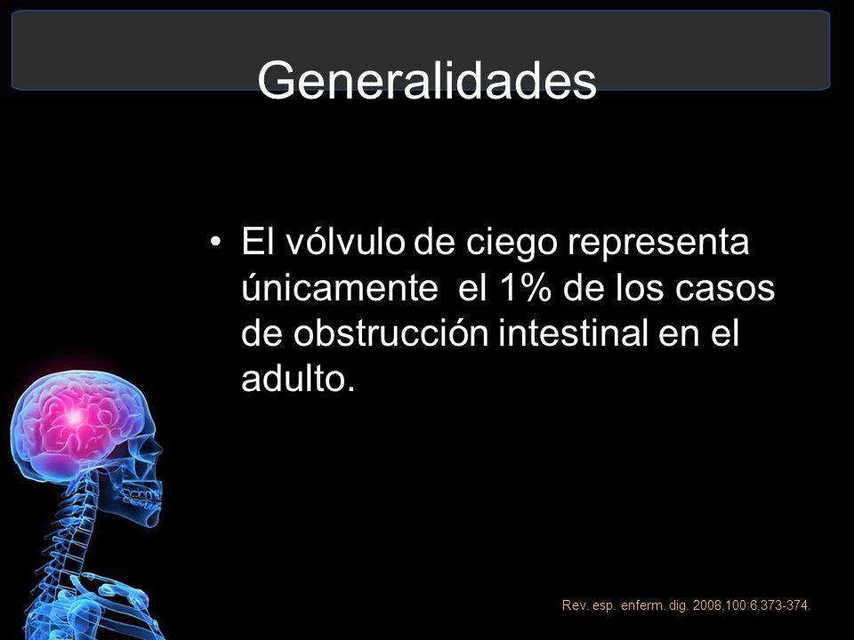 Generalidades El vólvulo de ciego representa únicamente el 1% de los casos de obstrucción intestinal en el adulto.