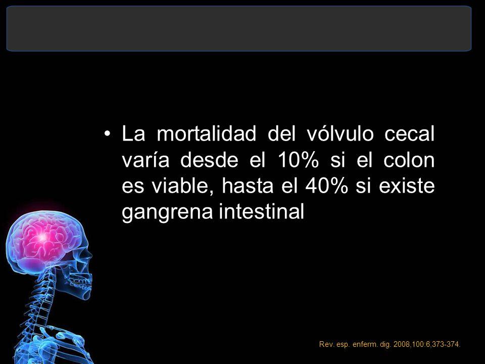 La mortalidad del vólvulo cecal varía desde el 10% si el colon es viable, hasta el 40% si existe gangrena intestinal