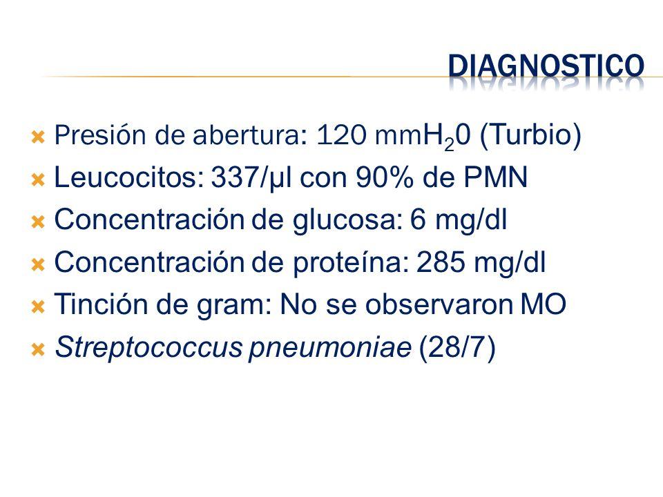 DIAGNOSTICO Presión de abertura: 120 mmH20 (Turbio)