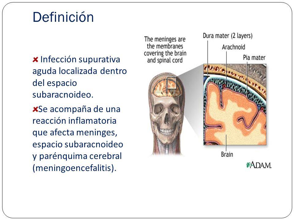 Definición Infección supurativa aguda localizada dentro del espacio subaracnoideo.
