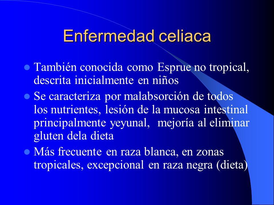 Enfermedad celiaca También conocida como Esprue no tropical, descrita inicialmente en niños.