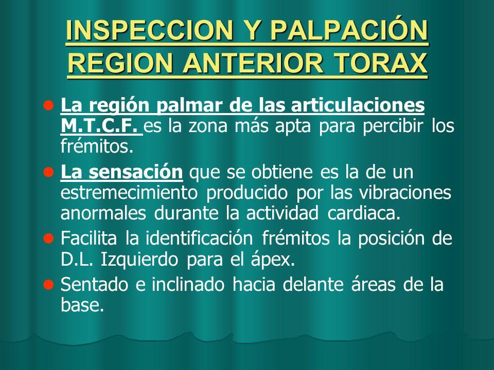INSPECCION Y PALPACIÓN REGION ANTERIOR TORAX