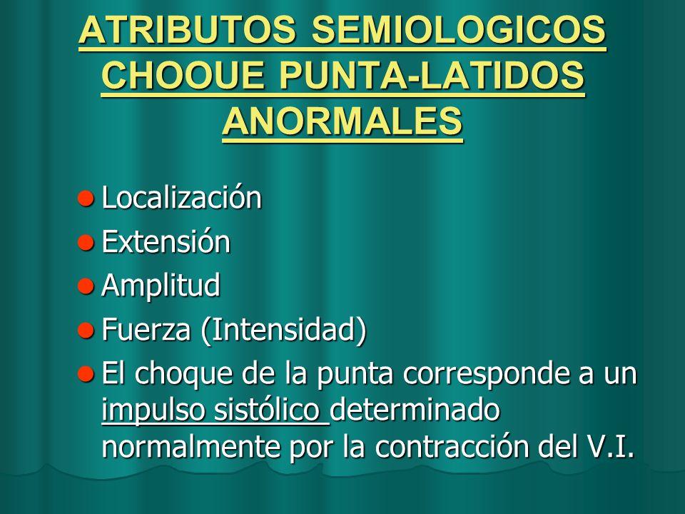 ATRIBUTOS SEMIOLOGICOS CHOOUE PUNTA-LATIDOS ANORMALES
