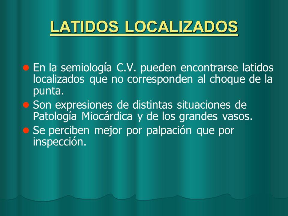 LATIDOS LOCALIZADOS En la semiología C.V. pueden encontrarse latidos localizados que no corresponden al choque de la punta.