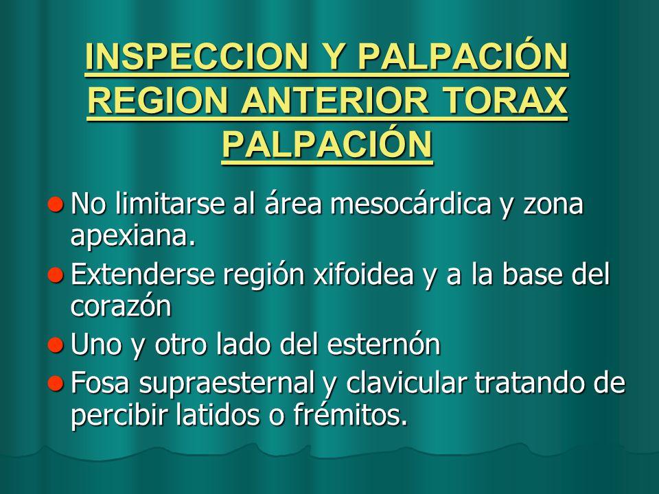 INSPECCION Y PALPACIÓN REGION ANTERIOR TORAX PALPACIÓN