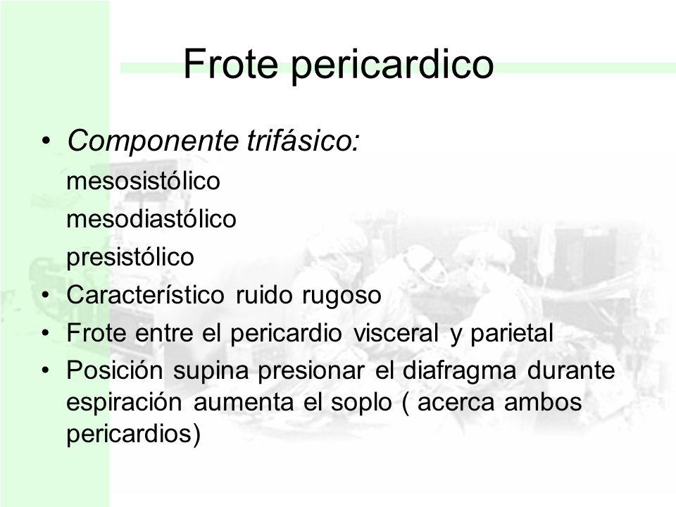 Frote pericardico Componente trifásico: mesosistólico mesodiastólico