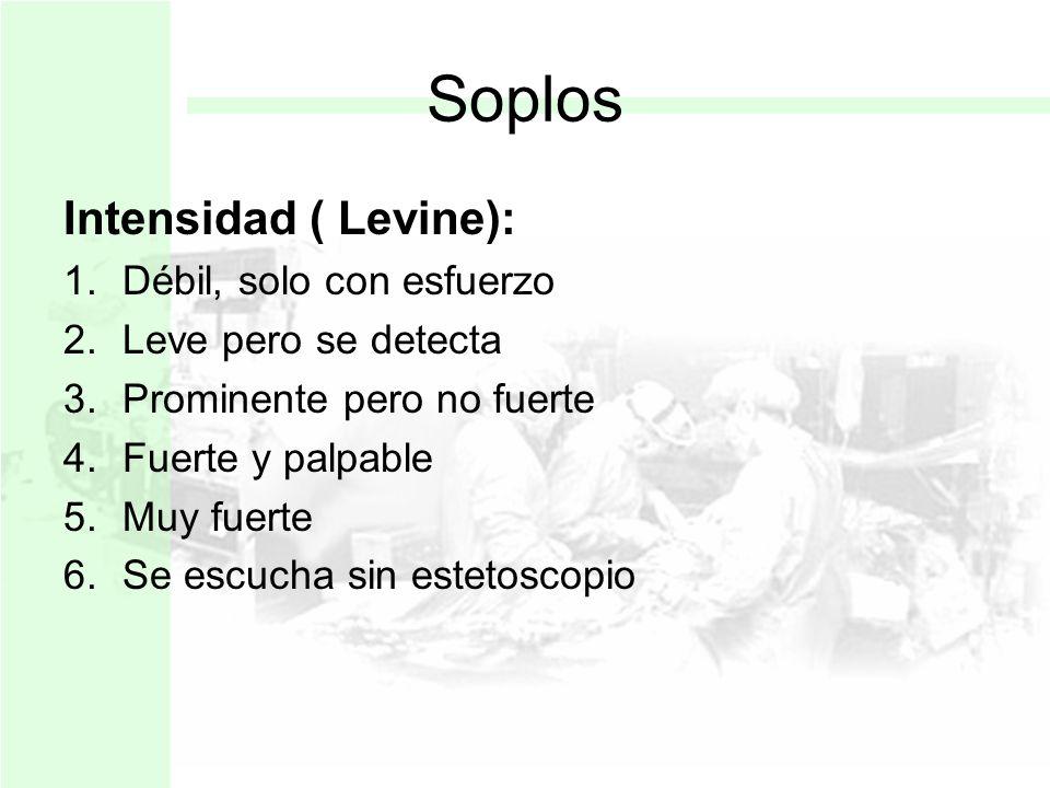 Soplos Intensidad ( Levine): Débil, solo con esfuerzo