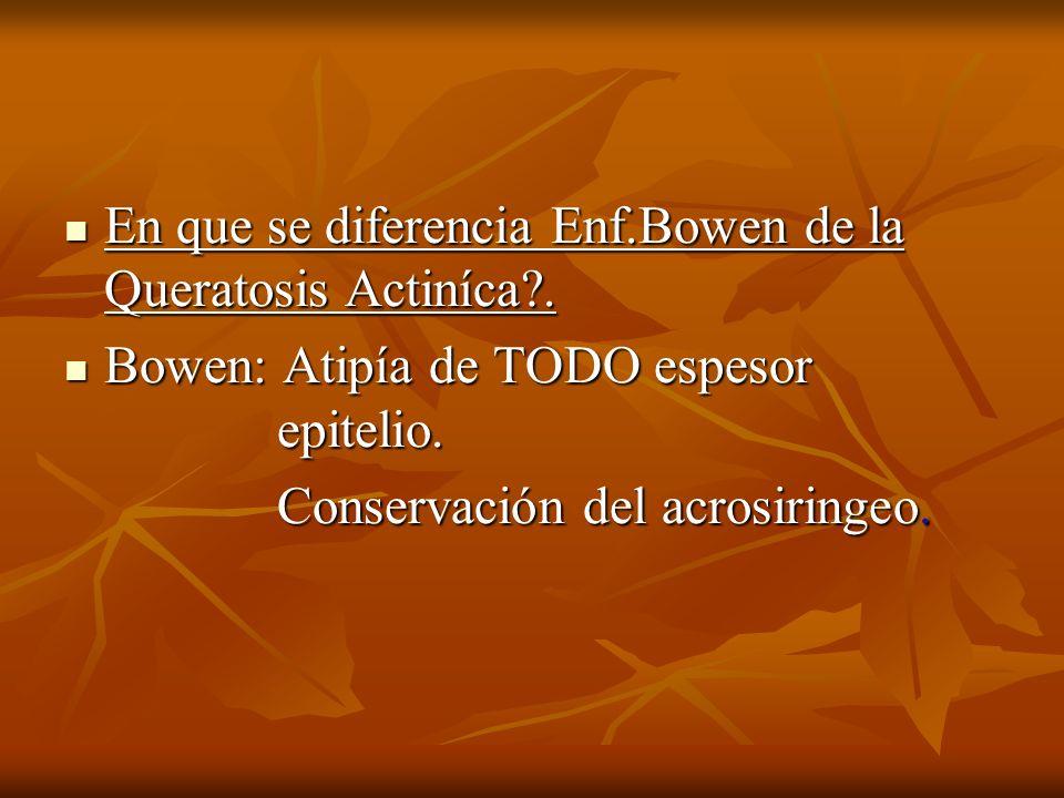 En que se diferencia Enf.Bowen de la Queratosis Actiníca .