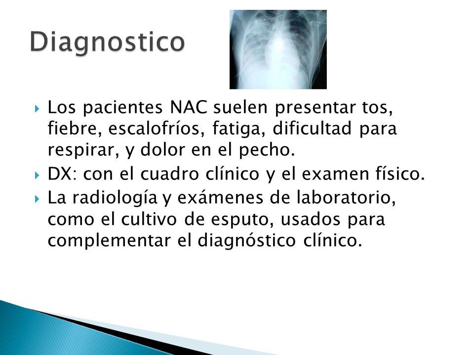 DiagnosticoLos pacientes NAC suelen presentar tos, fiebre, escalofríos, fatiga, dificultad para respirar, y dolor en el pecho.