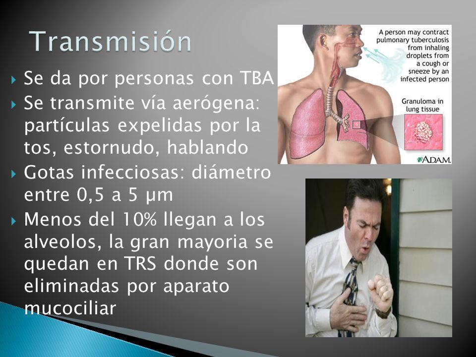 Transmisión Se da por personas con TBA