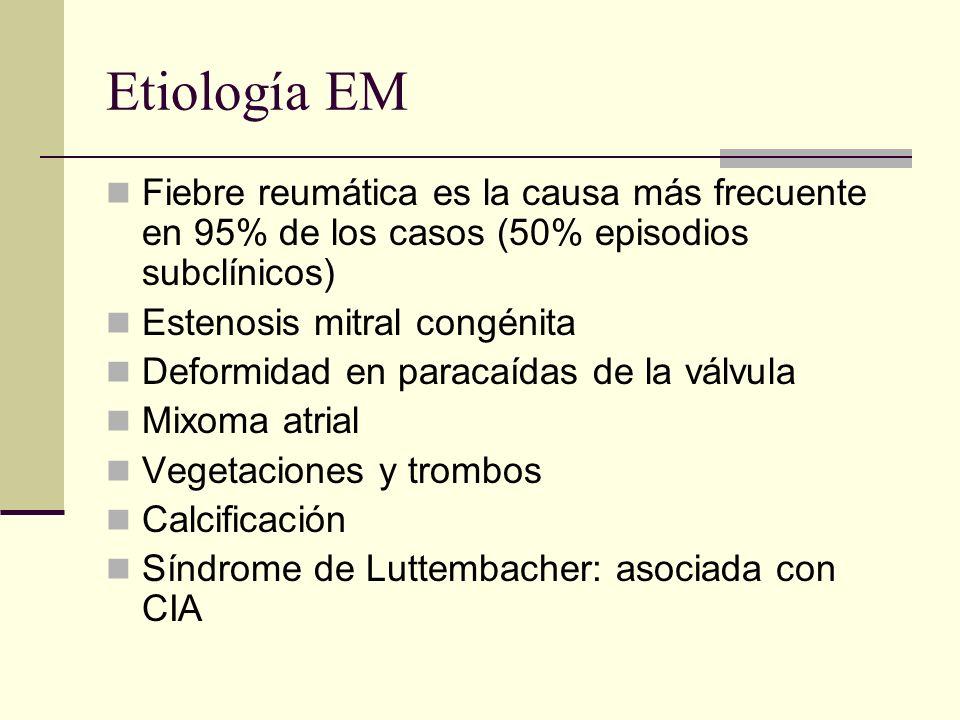 Etiología EM Fiebre reumática es la causa más frecuente en 95% de los casos (50% episodios subclínicos)