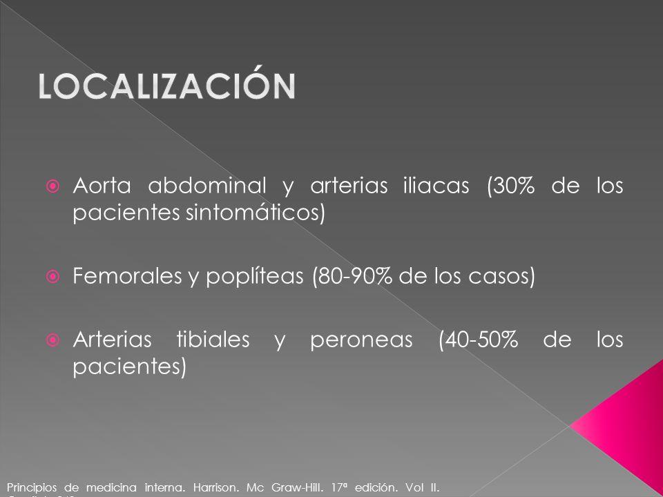 lOCALIZACIÓN Aorta abdominal y arterias iliacas (30% de los pacientes sintomáticos) Femorales y poplíteas (80-90% de los casos)