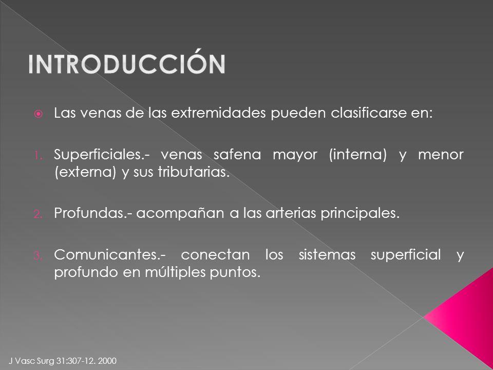 introducción Las venas de las extremidades pueden clasificarse en: