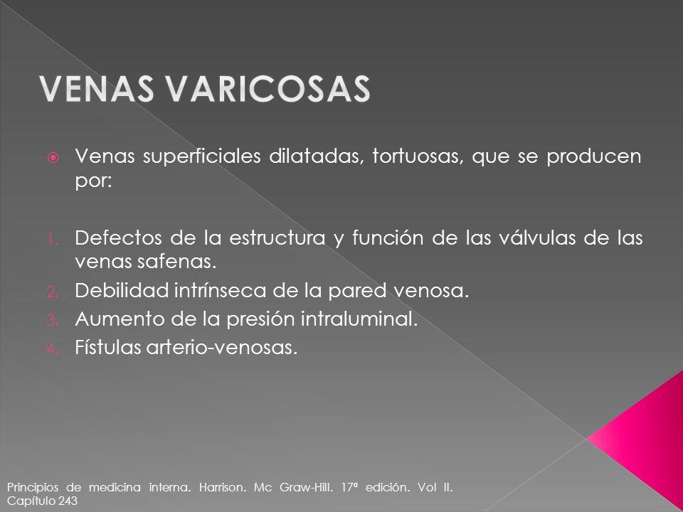 Venas varicosas Venas superficiales dilatadas, tortuosas, que se producen por: