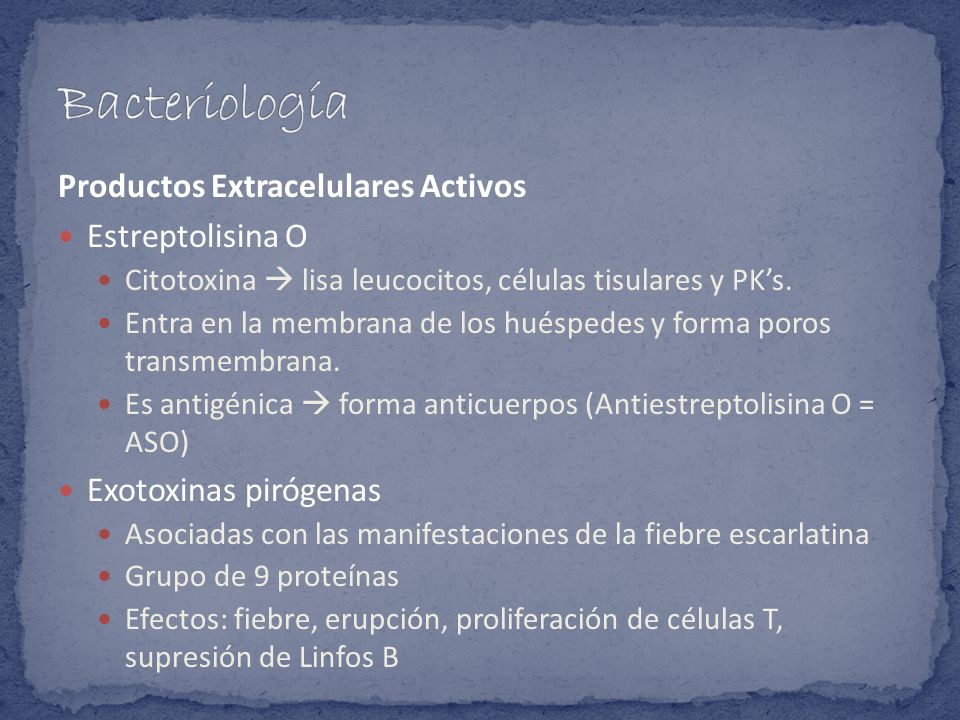 Bacteriología Productos Extracelulares Activos Estreptolisina O