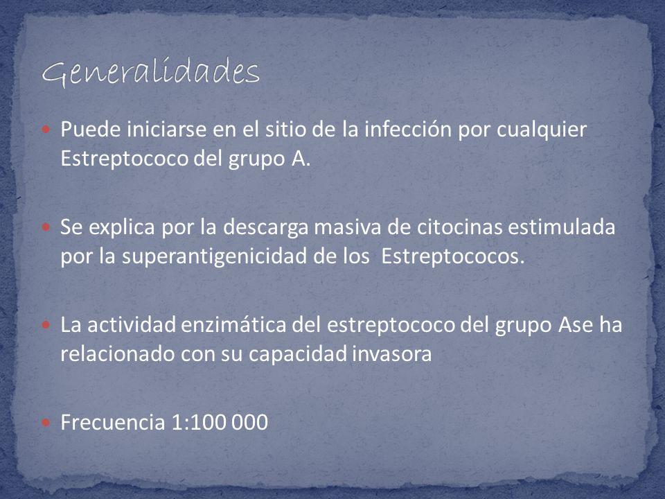 Generalidades Puede iniciarse en el sitio de la infección por cualquier Estreptococo del grupo A.