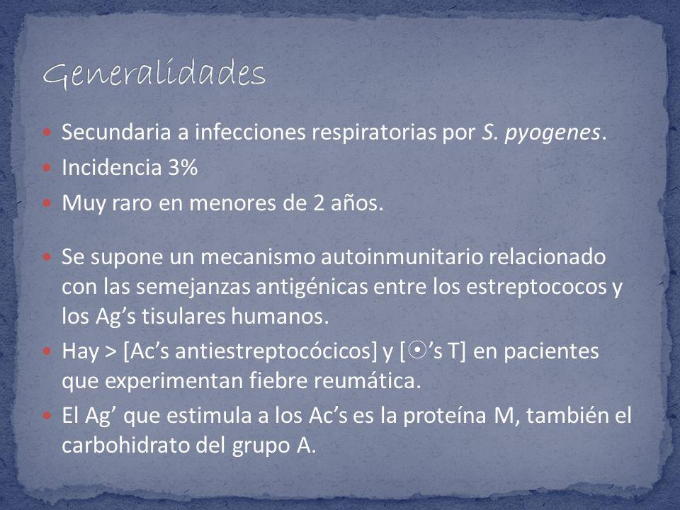 Generalidades Secundaria a infecciones respiratorias por S. pyogenes.