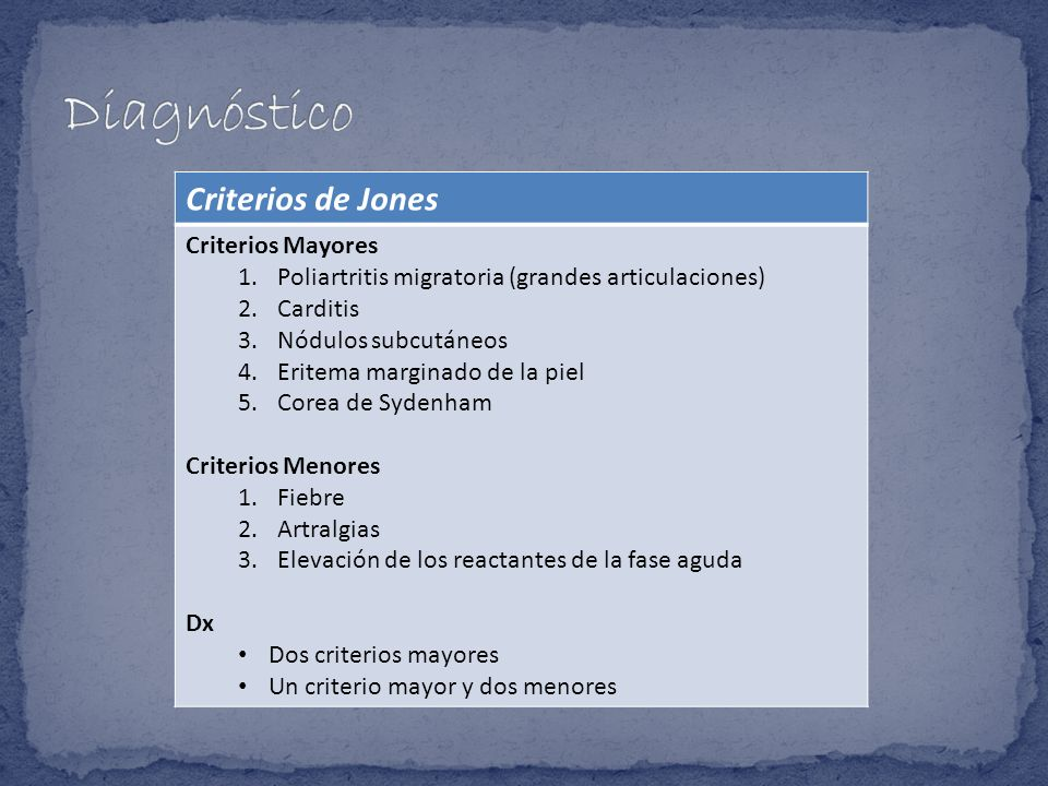 Diagnóstico Criterios de Jones Criterios Mayores