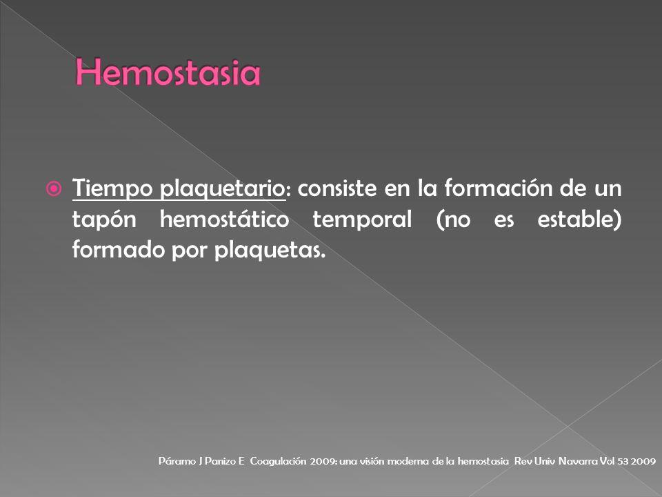 Hemostasia Tiempo plaquetario: consiste en la formación de un tapón hemostático temporal (no es estable) formado por plaquetas.