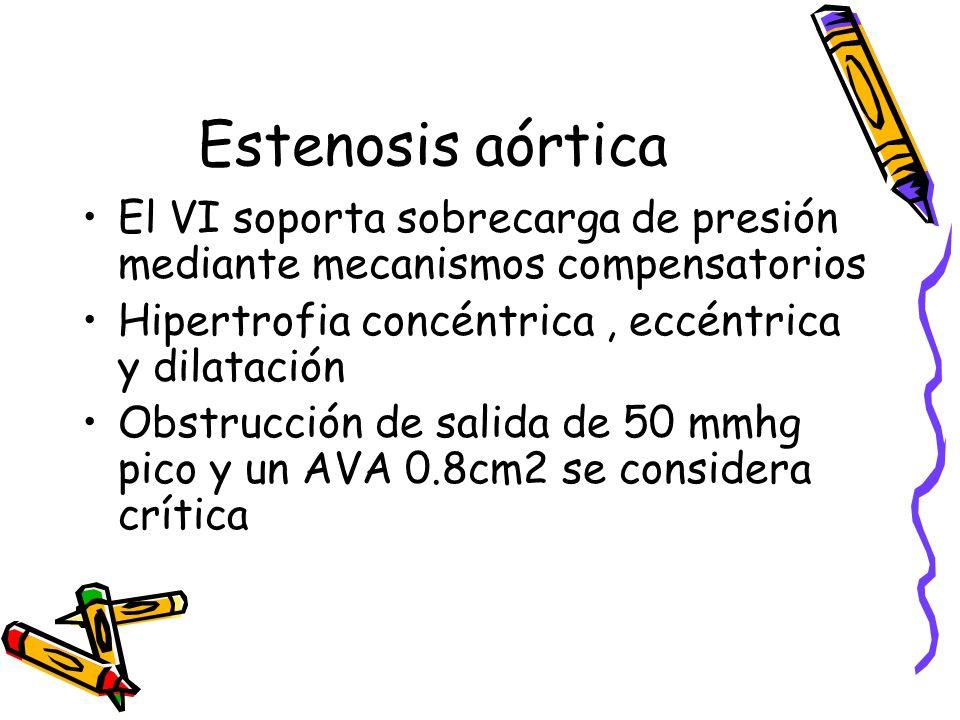Estenosis aórtica El VI soporta sobrecarga de presión mediante mecanismos compensatorios. Hipertrofia concéntrica , eccéntrica y dilatación.