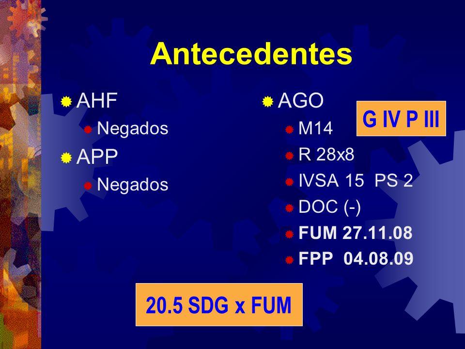 Antecedentes G IV P III 20.5 SDG x FUM AHF APP AGO Negados M14 R 28x8