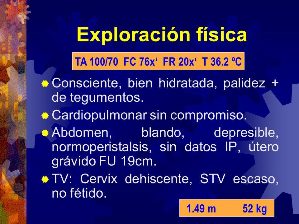 Exploración física TA 100/70 FC 76x' FR 20x' T 36.2 ºC. Consciente, bien hidratada, palidez + de tegumentos.