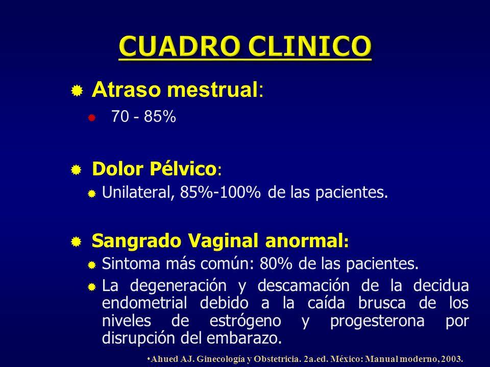 CUADRO CLINICO Atraso mestrual: Dolor Pélvico: