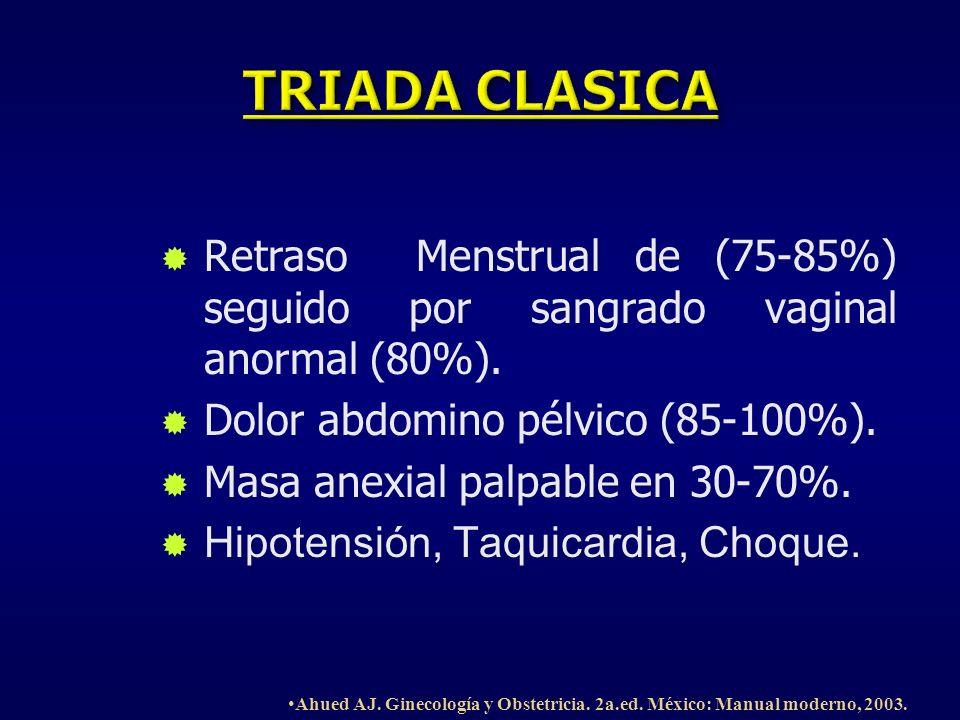 TRIADA CLASICA Retraso Menstrual de (75-85%) seguido por sangrado vaginal anormal (80%). Dolor abdomino pélvico (85-100%).
