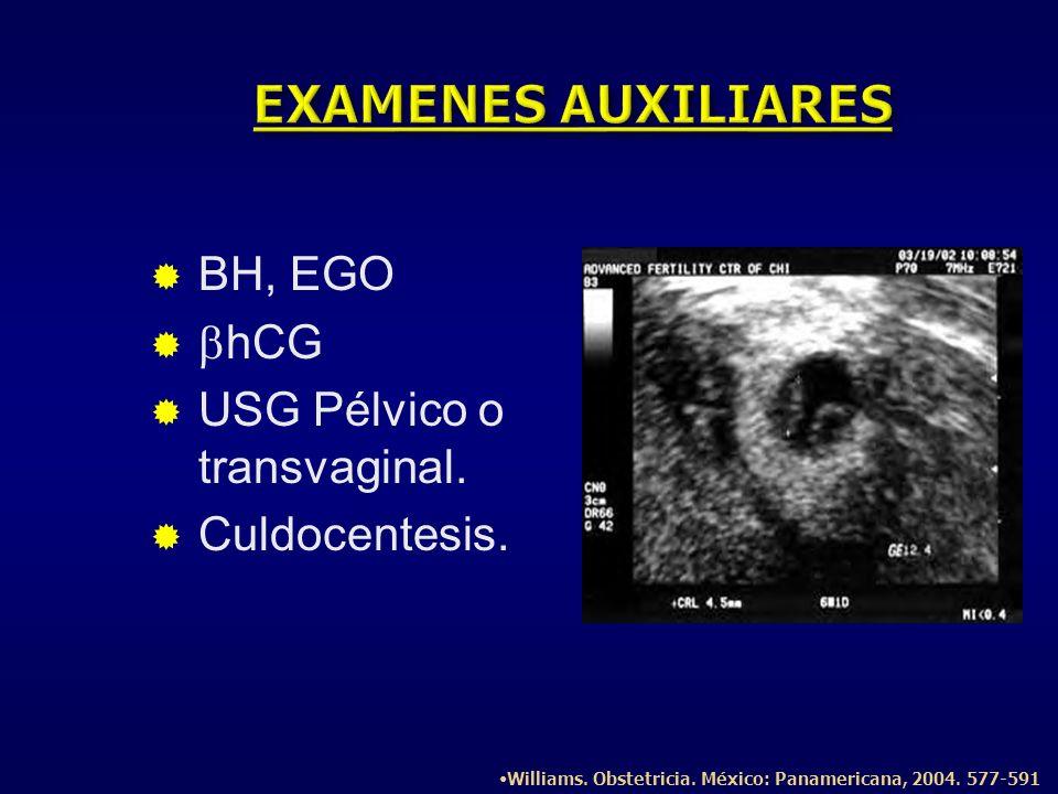 EXAMENES AUXILIARES BH, EGO bhCG USG Pélvico o transvaginal.