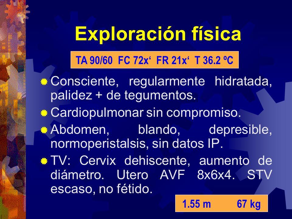 Exploración física TA 90/60 FC 72x' FR 21x' T 36.2 ºC. Consciente, regularmente hidratada, palidez + de tegumentos.