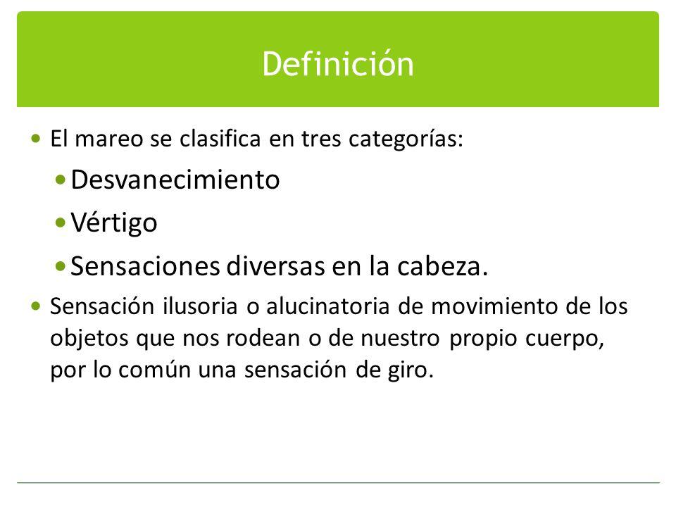 Definición Desvanecimiento Vértigo Sensaciones diversas en la cabeza.