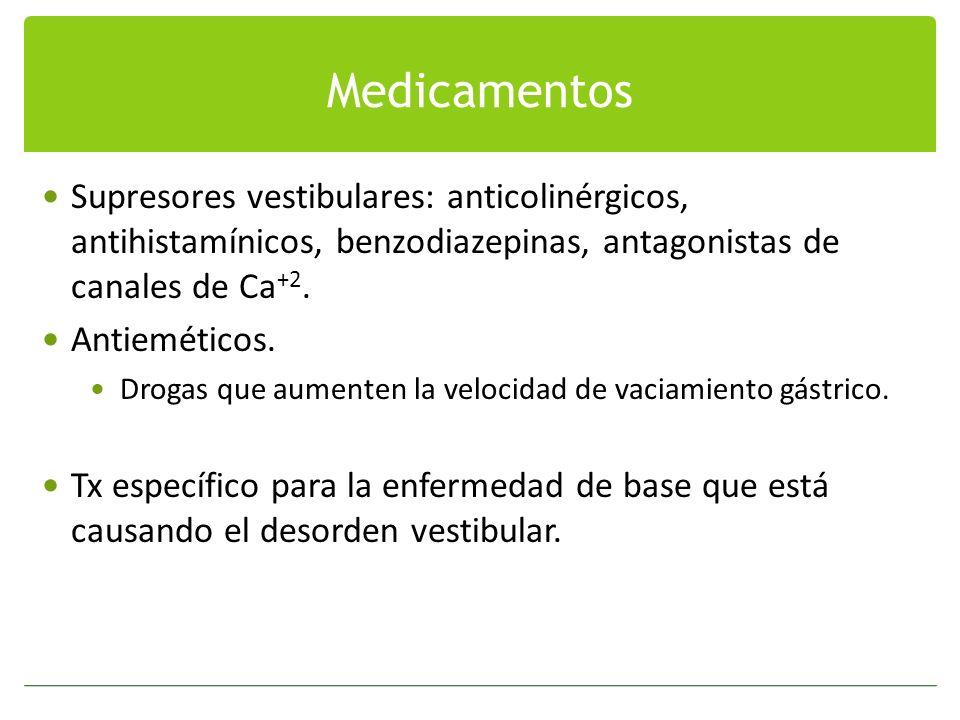 Medicamentos Supresores vestibulares: anticolinérgicos, antihistamínicos, benzodiazepinas, antagonistas de canales de Ca+2.