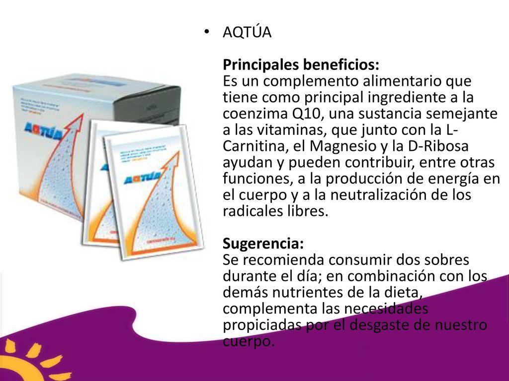 AQTÚA Principales beneficios: Es un complemento alimentario que tiene como  principal ingrediente a la coenzima