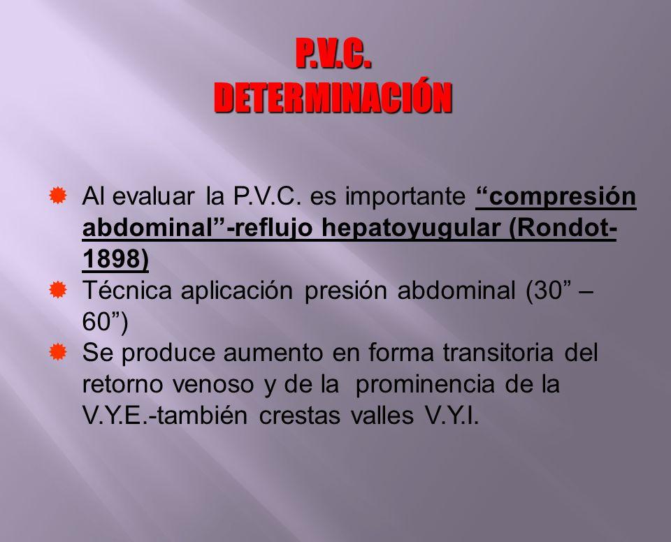 P.V.C. DETERMINACIÓNAl evaluar la P.V.C. es importante compresión abdominal -reflujo hepatoyugular (Rondot-1898)